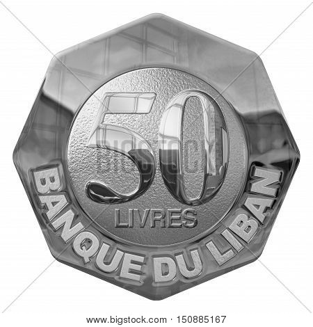Isolated 3D Render Of A Fifty Pounds Silver Illustrated Coin Lebanon