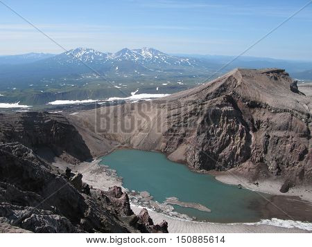 Crater lake in Gorely volcano Kamchatka peninsula Russia