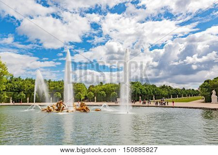 Fountain Of Apollo In A Beautful And Famous Gardens Of Versailles (chateau De Versailles).