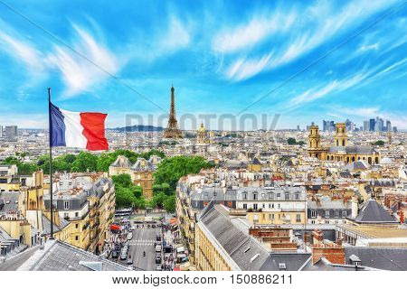 Beautiful Panoramic View Of Paris From The Roof Of The Pantheon. View Of The Eiffel Tower And Flag O