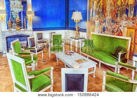 Versailles, France - July 02, 2016 : Grand Empress Green Cabinet In The Grand Trianon. Chateau De Ve