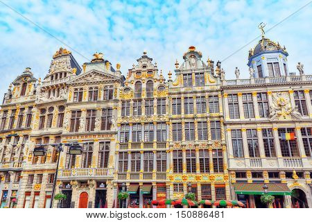 Brussels, Belgium - July 07, 2016 : Guildhalls On The Grand Place (grote Markt) Is The Central Squar