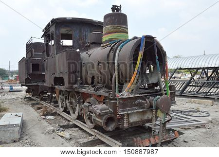 Bangkok Thailand February 23, 2014 ancient steam locomotive parking for worship and memorial