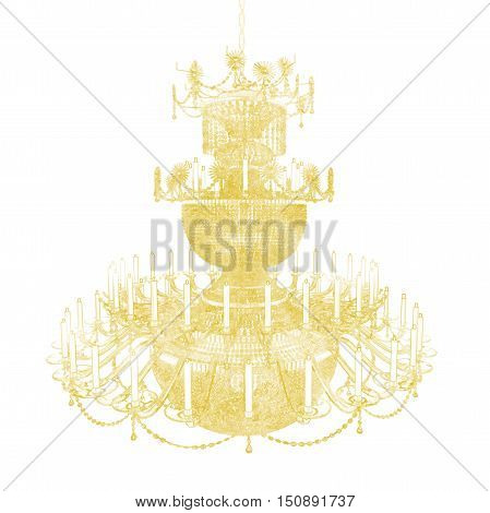 Silhouette of a three-level crystal chandelier with candles on a white background. 3D illustration