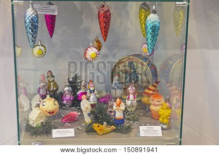 KLIN RUSSIA - JANUARY 16 2016: Old Christmas toys in the form of fairy-tale characters. Between the sixties and eighties years of the twentieth century. Museum of Christmas toys.