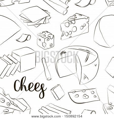 Hand drawn set of chees pattern. Food illustration of parmesan, gouda, blue, edammer, maasdam, brie, mozzarella, roquefort camembert and other