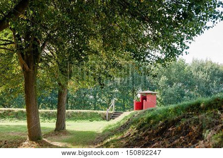 Observation post on a defense wall of historic fortress town of Bourtange Groningen in Netherlands