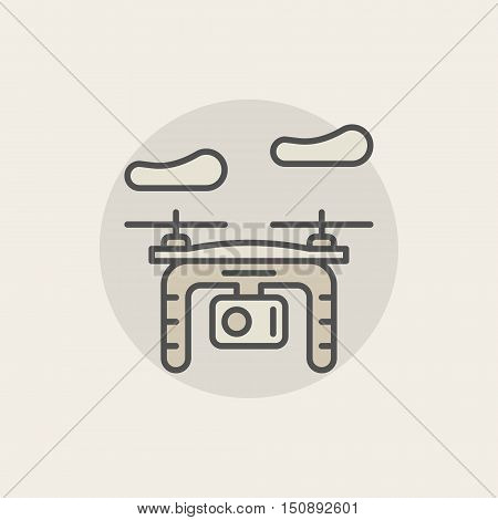 Quadrocopter colorful icon. Vector photo and video drone in clouds symbol or logo element. Minimal flat drone concept sign