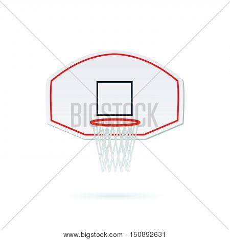 Illustration of a basketball hoop and backboard isolated on a white background.