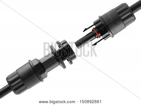 Solar Photovoltaic Cable Connector isolated on white background with clipping path