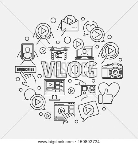 Vlog circular outline illustration. Vector video blogging symbol made with word VLOG and video icons in thin line style