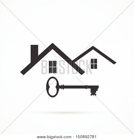 Concept image of an abstract house design isolated on a white background.