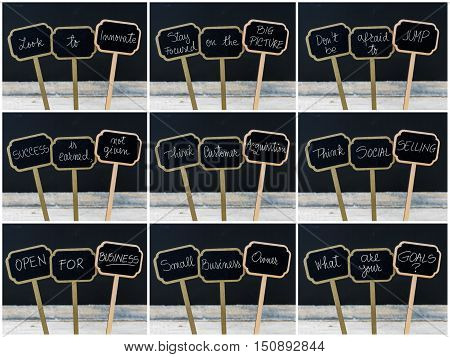 Photo Collage Of Various Business Messages Written On Mini Blackboard Labels