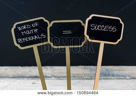 Business Message Word Of Mouth Referrals Equals Success