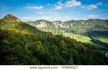 Slovakian mountains Sulov in autumn with sunset