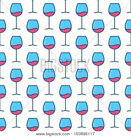 Wine glasses seamless pattern. Vector creative colorful texture made with blue glasses with red wine