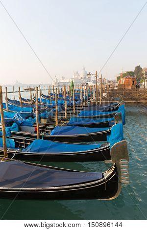 Some Gondole, typical venecian boat  in Venice, Italy
