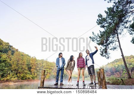 Diverse Friends Groupie Outdoors