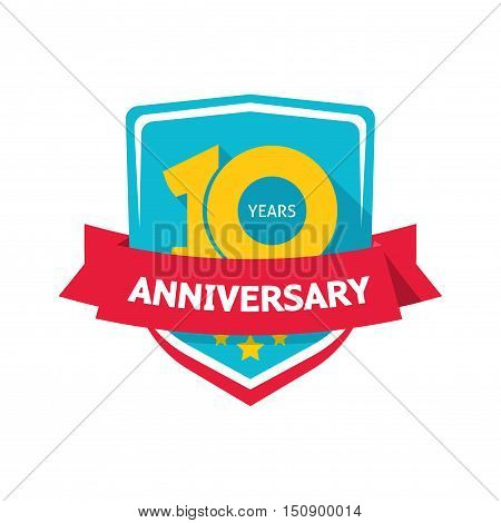 Ten years anniversary sticker vector, color 10th anniversary party label with red ribbon, celebrating symbol with number ten isolated on white background, flat style