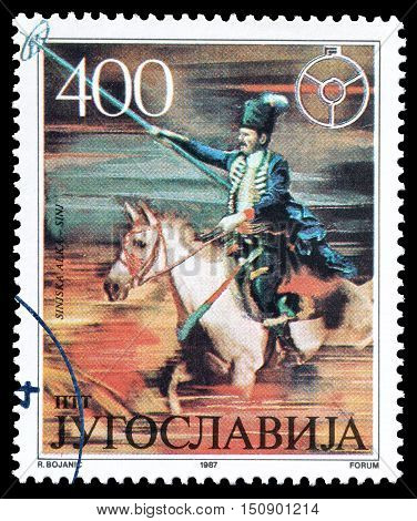 YUGOSLAVIA - CIRCA 1987 : Cancelled postage stamp printed by Yugoslavia, that shows Traditional games in Sinj.