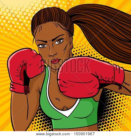 Sexy Aggressive Woman Boxer With Dark Skin In Red Boxing Gloves Ready To Fight. Vector Hand Drawn Co