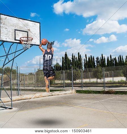 a basketball player dunking in a playground
