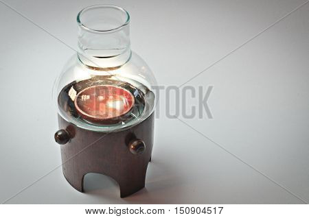 Glass lamps with bamboo  fence, floor,  on Whitebackground