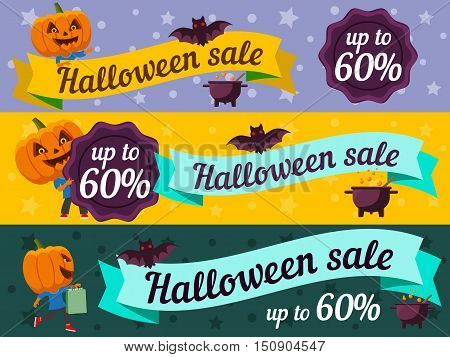 Halloween web banners. Man with a pumpkin head vector flat illustration. Funny halloween personage. Cartoon vector set.