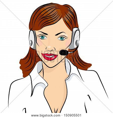 Vector illustration of smiling cute woman working as telephone operator.