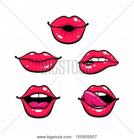 Female Lips Set. Mouth With A Kiss, Smile, Tongue, Teeth. Vector Comic Illustration In Pop Art Retro