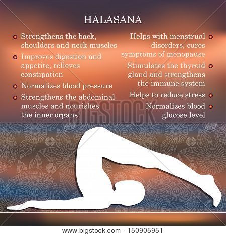 Yoga pose infographics, benefits of practice Halasana