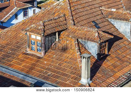 Orange Tile Rooftops In Porto Old Town, Portugal
