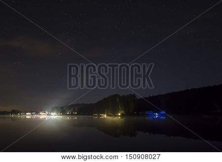 Harbour And Starlit Sky On The Werbellinsee By Night