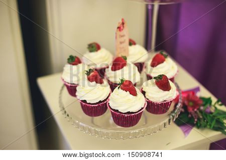 Beautifully Decorated Multicolored Banquet Catering With Candy Bar Dessert Table With Different Swee