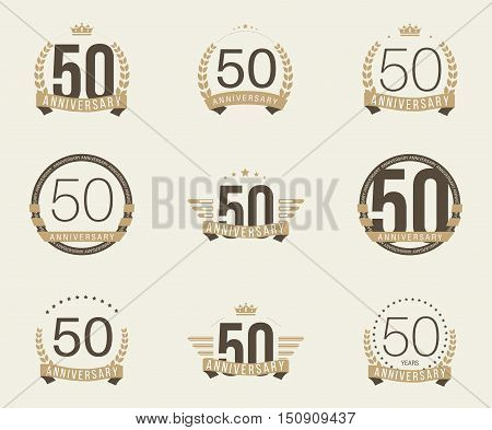 Fifty years anniversary logotype with branches, ribbons, wings, crowns. 50th anniversary logo collection. Vector illustration.