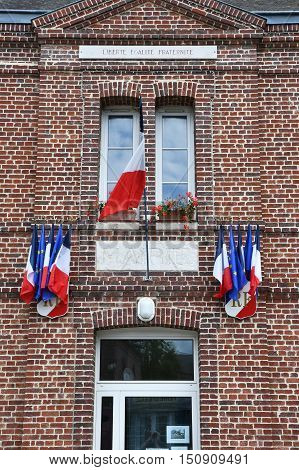 Le Mesnil sous Jumieges France - june 22 2016 : the city hall