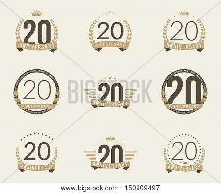 Twenty years anniversary logotype with branches, ribbons, wings, crowns. 20th anniversary logo collection. Vector illustration.