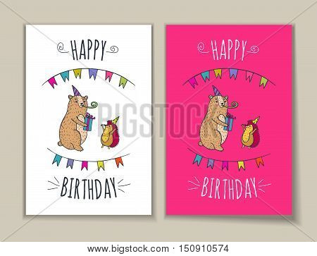 Happy birthday card set. Vector illustrated poster with bear and hedgehog characters.