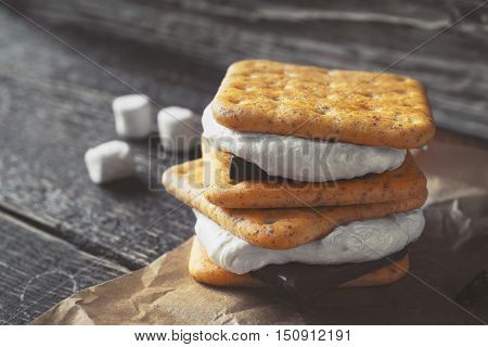 Smores on the wooden table horizontal blur, blurred