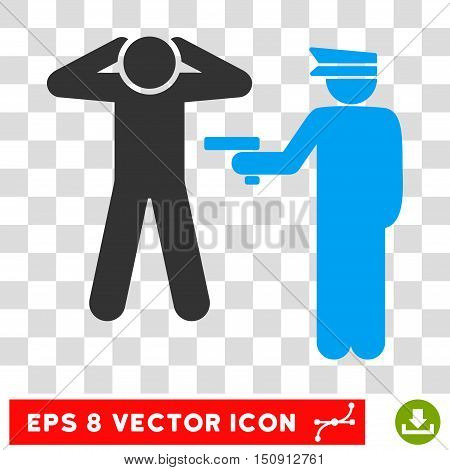 Vector Arrest EPS vector icon. Illustration style is flat iconic bicolor blue and gray symbol on a transparent background.