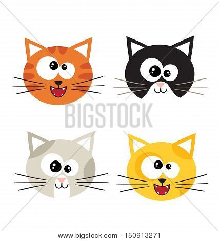 Cat emotions composite isolated on white background. Vector icons - cute cats