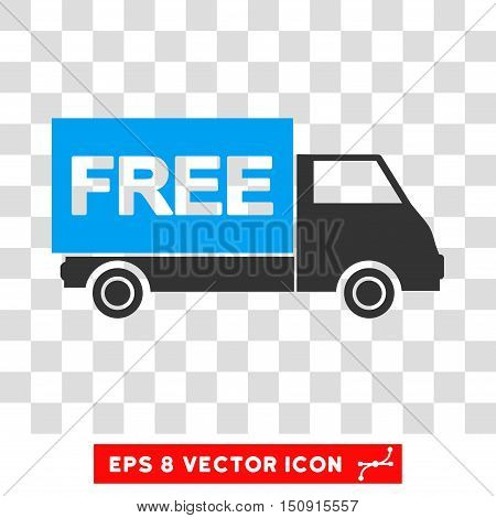 Vector Free Shipment EPS vector pictograph. Illustration style is flat iconic bicolor blue and gray symbol on a transparent background.