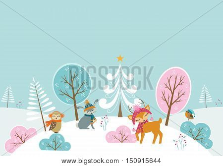 Christmas woodland background with cute animals and place for your text.