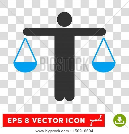 Vector Lawyer EPS vector pictograph. Illustration style is flat iconic bicolor blue and gray symbol on a transparent background.
