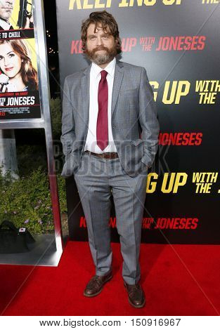 Zach Galifianakis at the Los Angeles premiere of 'Keeping Up With The Joneses' held at the Fox Studios in Los Angeles, USA on October 8, 2016.