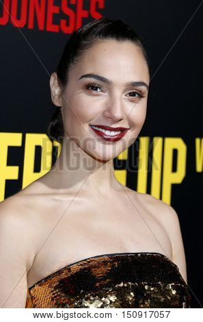 Gal Gadot at the Los Angeles premiere of 'Keeping Up With The Joneses' held at the Fox Studios in Los Angeles, USA on October 8, 2016.