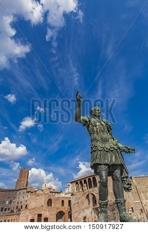 Emperor Trajan Statue, In Front Of The Trajan's Markets. Rome, Italy