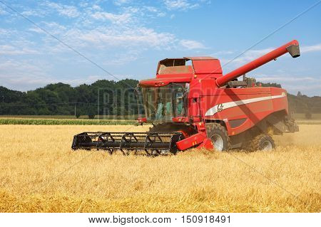 Harvester on wheat field harvesting at day