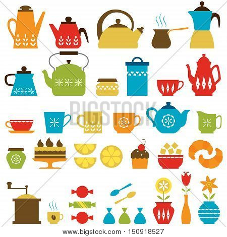 Retro-style set of tea and coffee things isolated on white background.