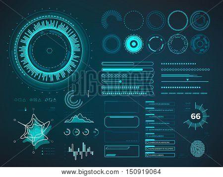 Futuristic user interface HUD. Infographic vector elements. Digital dashboard panel illustration